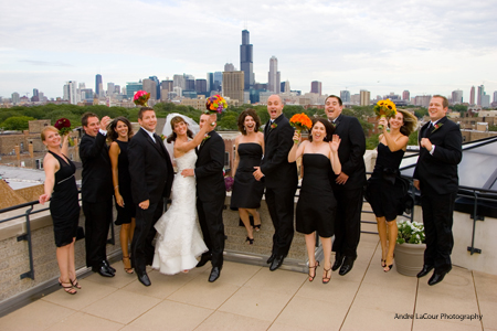 jumping-bridal-party-on-roof